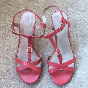 J. Crew coral stacked heel strappy sandal